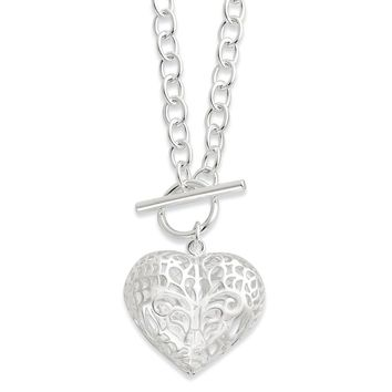 Sterling Silver 18 Inch Large Puffed Heart Necklace