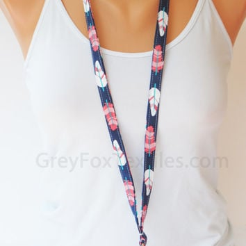 Feather Lanyard, feather ID badge lanyard, coral navy gray lanyard, cute girly lanyard, great gift idea