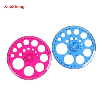 2 PCS Stationery 360 Degrees Round Ruler Transparent Template Circle Patchwork Foot Office and School Drafting Supplies Rulers