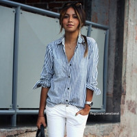 Stylish Ladies Women Turn-down Collar Vertical Striped Casual Shirt Blouse = 1838539524