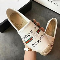 GUCCI New Popular Women Casual Graffiti Letter Print Leather Flat Shoes White I-TFDXY-XNEDX