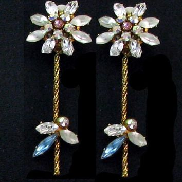 Vintage CHRISTIAN LACROIX earrings clip gold tone and rhinestone bridal collection