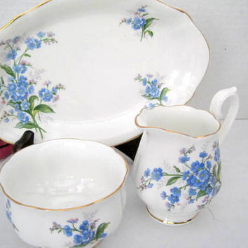 Royal Albert Cream Sugar Underplate Forget Me Not Bone China England