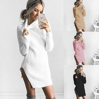 Solid Color Fashion Hollow Split Turtleneck Long Sleeve Sweater Tops