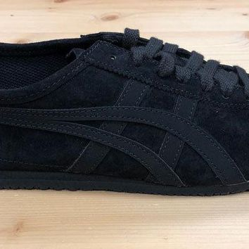 Onitsuka Tiger Mexico 66 Trainers Black Suede Asics Leather Ship Worldwide