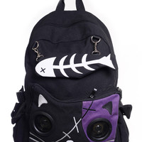 Banned Goth Punk Rock Emo Kitty Cat & Fishbone Music Speaker Backpack