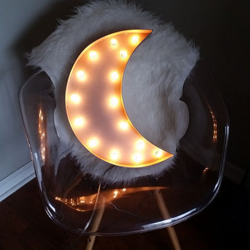 "Light Up 18"" Crescent Moon Marquee Sign"