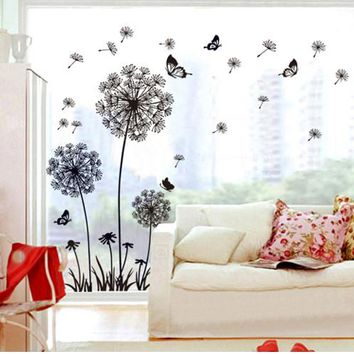 HOT Dandelion Flower Butterfly home decal wall stickers vinyl living room sofa background decor girls women room window DIY art