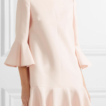 Valentino - Fluted wool and silk-blend mini dress