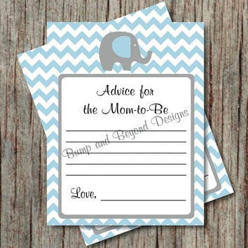 Instant Download Baby Advice Cards Baby Shower Advice for the Mommy to Be Elephant Powder Blue Grey Advice for New Parents to Be - 006