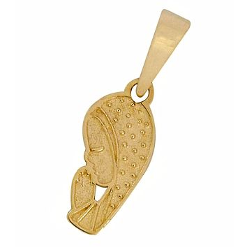 Praying Hands of Mary Pendant in 14k SOLID Yellow Gold