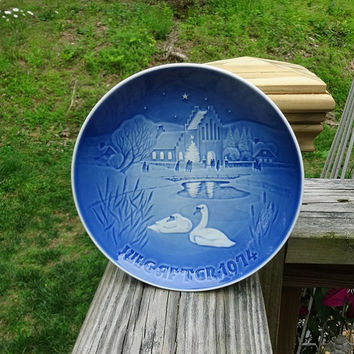 1974 Vintage Royal Copenhagen Bing & Grondahl Blue Porcelain Plate, Denmark, Christmas in the Village, 7.25 Diameter, Copenhagen Plate, 9074