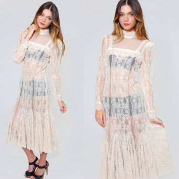 Vintage LACE Maxi Dress Cream Long Sleeve Victorian Sheer Maxi Dress Boho Chic Lace Dress Vintage Wedding Dress