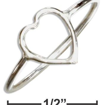 Sterling Silver Open Heart Wire Ring