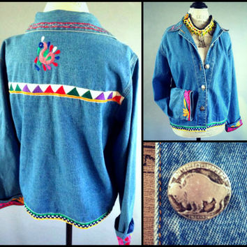 Vintage Gypsy Tribal Denim Jacket Kuchi Southwestern Embroidered Jean Shirt Festival Boho Coachella Free People Western Snap buffalo Nickle