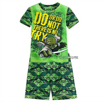 Licensed cool STAR WARS Jedi YODA PJ Pals Short Set Pajamas for Boys 2 PC Disney STORE SZ 4-8