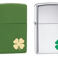 Zippo Lighter Set - Bit of Luck and Shamrock Green Matte Set of Two Pair