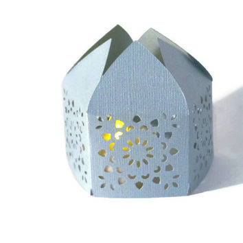 Light Blue Handmade Moroccan Middle Eastern Paper Wedding Lantern with LED Battery Tea Light Candle  Event Decor - Party Favor - Lighting