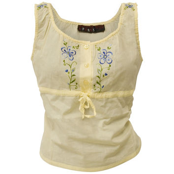 Blue Flowers - Juniors Button Tank Top Blouse