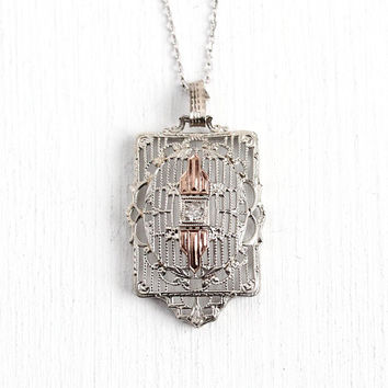 Art Deco Necklace - Antique 10k White & Rose Gold Filigree Pendant - Vintage 1920s Genuine Diamond 10k Gold Adjustable Chain Fine Jewelry
