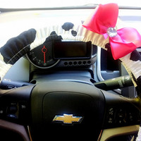 Cow print Steering Wheel Cover with Bow of Your choice