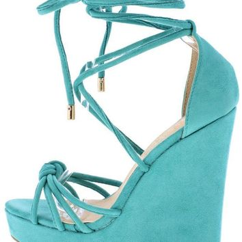 SEA GREEN STRAPPY KNOTTED PLATFORM WEDGE