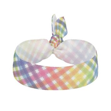 Rainbow Plaid Hair Tie