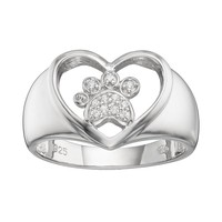 Hsus Cubic Zirconia Sterling Silver Paw Print & Heart Ring (White)