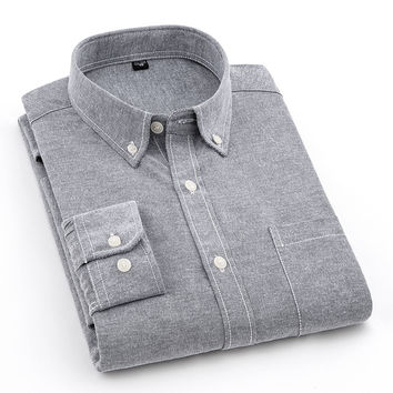 Men's Long Sleeve Slim-fit Solid Oxford Dress Shirt with Left Chest Pocket High Quality Casual Button-down Work Shirts