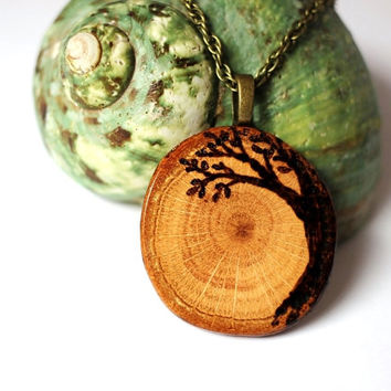 Tree of Life  Necklace Wooden Pendant Wood Burned Tree Reclaimed Eco Friendly Oak Branch Wood Jewelry by Hendywood