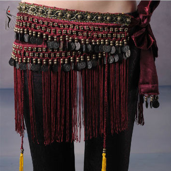 2016 Hot Selling Cheap Women Tribal Belly Dance Hip Scarves Belly Dancing Waist Belts on Sale NMMHS001