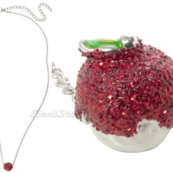 Licensed cool NEW DISNEY Princess Snow White & 7 Dwarfs Red Glitter Poison Apple Necklace NWT