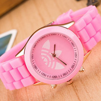 "Silicone Cartoons Korean Candy Stylish Sweets Fashion ""Adidas"" Leaf Like Logo Watch = 5861606081"
