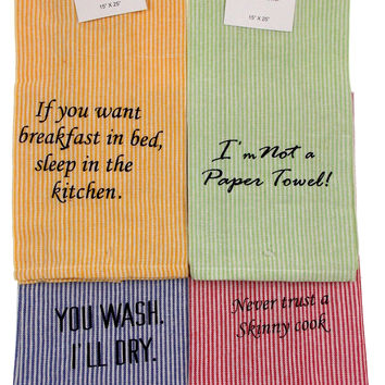 "Home Concepts Kitchen Bistro Towels 15""x25"" Striped Set 4 Blue Green Yellow Red"
