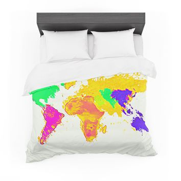 "Oriana Cordero ""My World"" Rainbow Map Featherweight Duvet Cover"