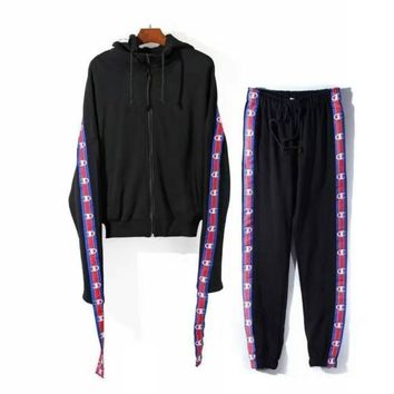 AUGUAU Vetements X Champion Cotton-blend Track Pants and Hoodie in Black