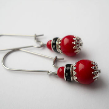 Surgical steel earrings, kidney ear wire, coral earrings, red earrings, gemstone earrings, dangle earring, coral  jewelry, coral beads