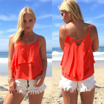 Fashion Women Summer Blouse Slim Sleeveless Shirt Chiffon Casual Vest Top