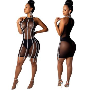 Women Sexy Sleeveless Sequins Patchwork Mesh Sheer Club Party Bodycon Mini Dress