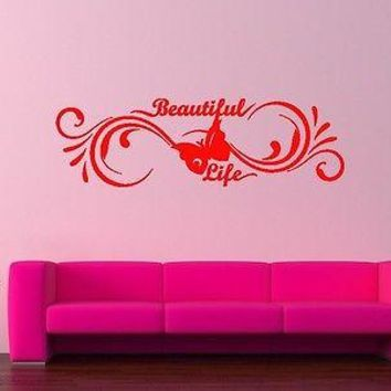 Wall Sticker Vinyl Decal Beautiful Life Cool Living Room Decor Unique Gift (ig1152)