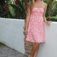 Coral and White Print Strapless Dress