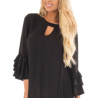 Black Tunic with Ruffle Bell Sleeves and Keyhole Neck