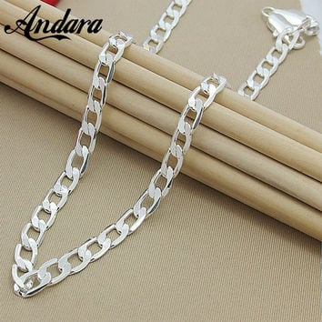 "ANDARA 925 Silver 10MM 22""24""26"" Men Figaro Chain Necklace For Men Silver 925 Jewelry Statement Necklace N185"