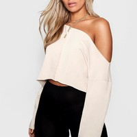 Plus Off Shoulder Tonal Sweater | Boohoo