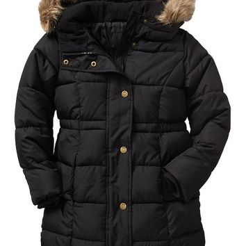 Gap Factory Warmest Long Puffer Jacket - true black