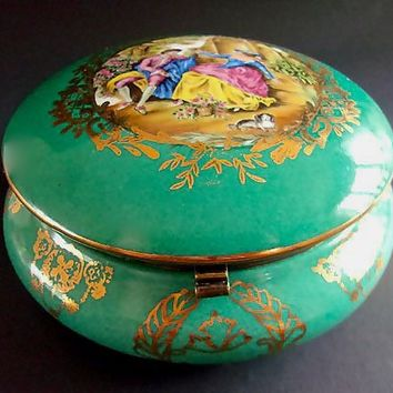 Limoges Hinged Green Porcelain Jewelry-Momento Box, Scenic Reproduction, Large Vintage