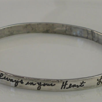 Memorial Jewelry-Custom Bangle Bracelet-Handwriting Jewelry-One sided