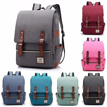 2018 New Women Mens Canvas Leather Backpack School Laptop Travel Rucksack Satchel Bags