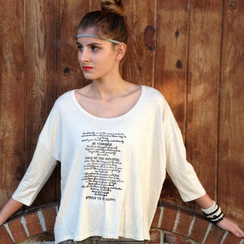 STRIVE to be HAPPY DESIDERATA High Low Dolman Tee