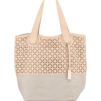 Coogee Perforated Colorblock Tote Bag, Nude/Stone - Urban Originals
